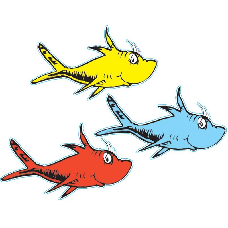 Dr seuss 1 fish 2 fish cutouts for Dr suess fish