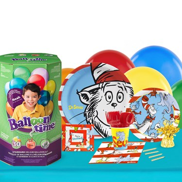 Dr Seuss 16 Guest Kit with Tableware and Helium Kit