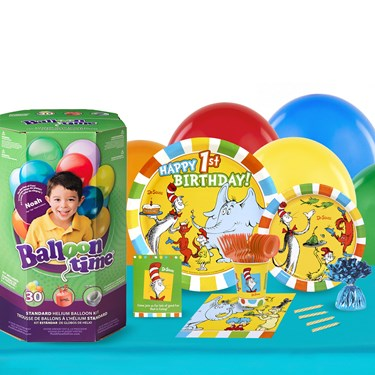 Dr Seuss 1st Birthday 16 Guest Party Pack and Helium Kit