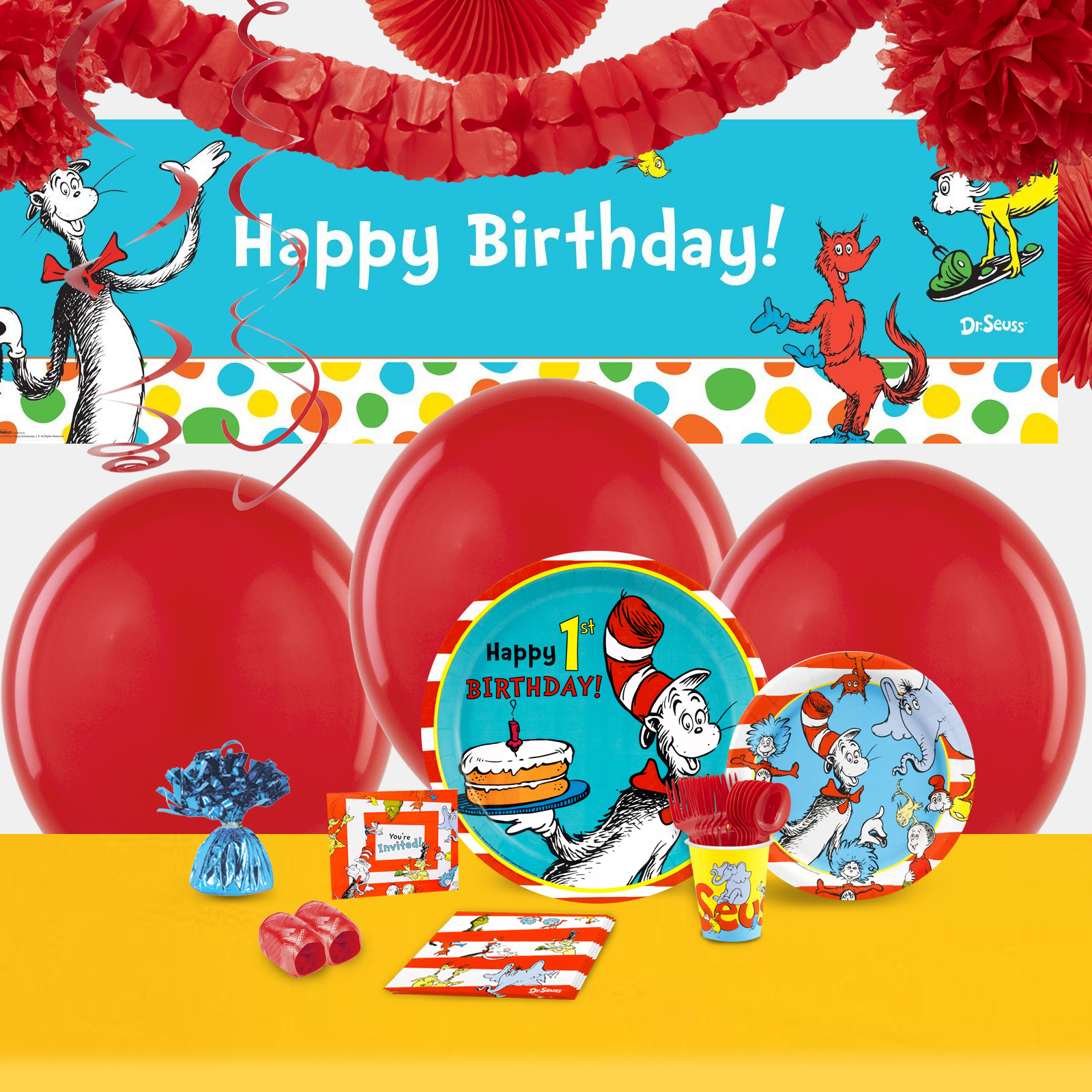 Default Image - Dr. Seuss 1st Birthday Party in a Box For 16