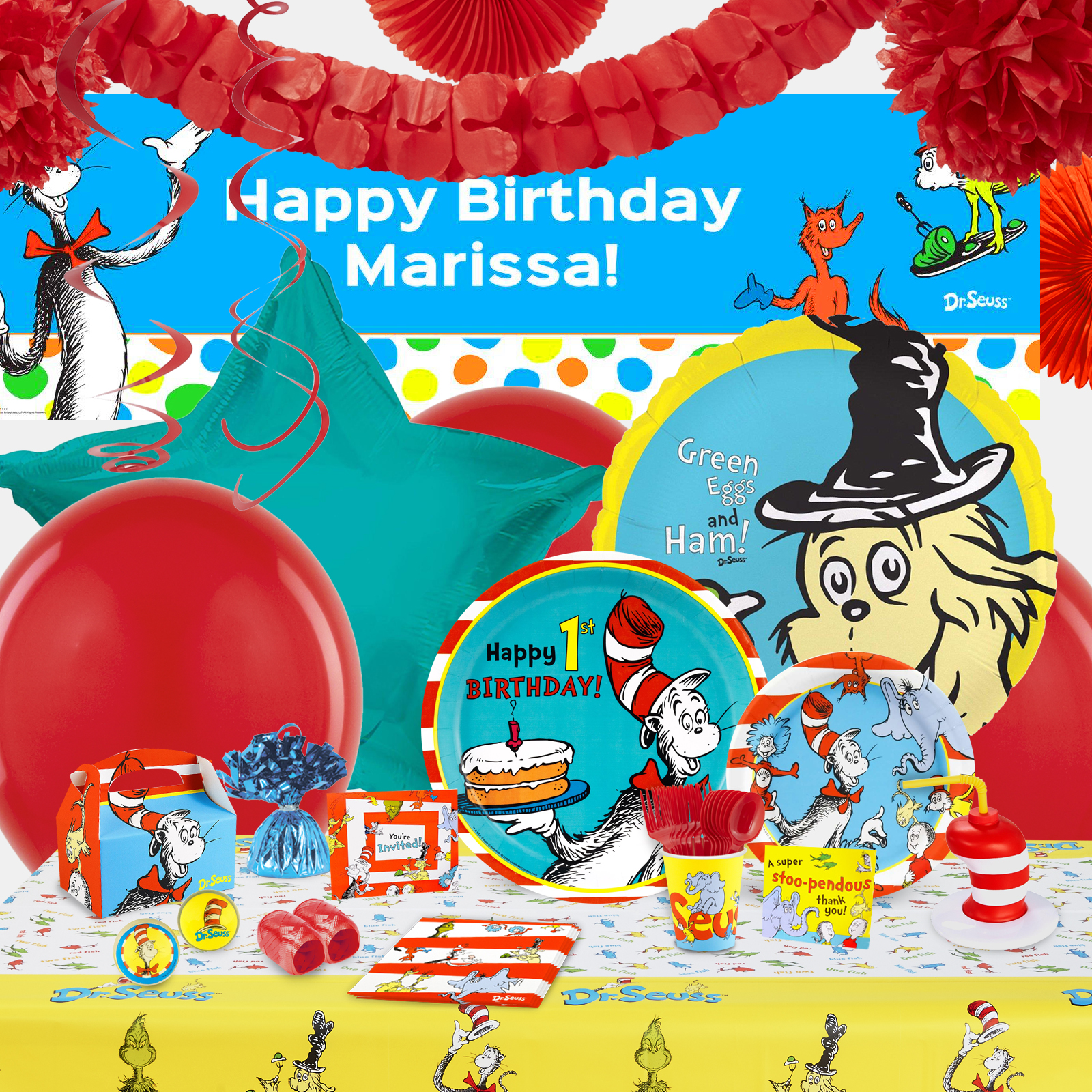 Alt. Image (1) - Dr. Seuss 1st Birthday Party in a Box For 16