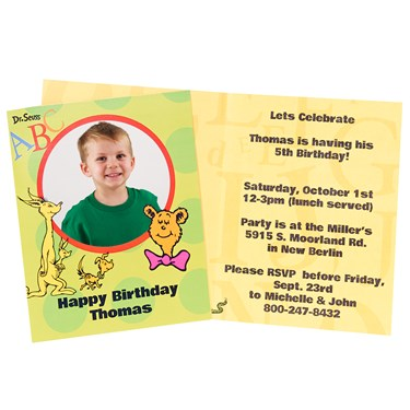 Dr. Seuss ABC 123 Personalized Invitations (8)