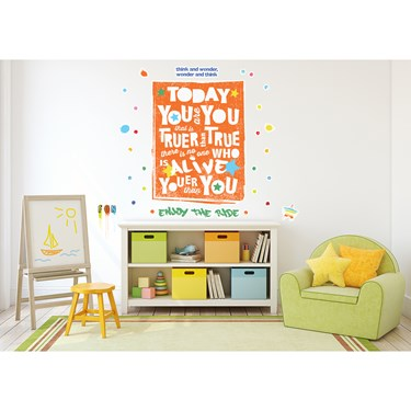 Dr. Seuss Street Art Today You Are You Inspirational Quote Giant Wall Decal