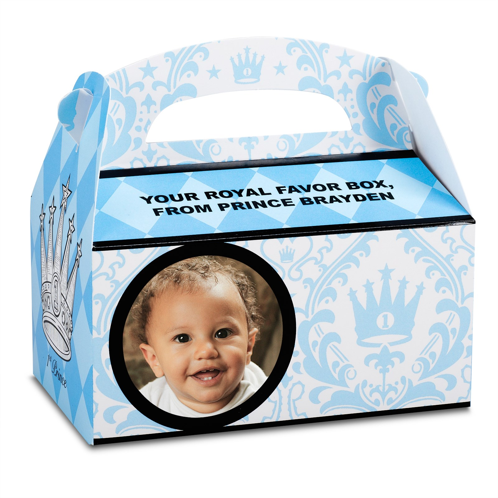 Personalized 1st Birthday Favor Boxes : Elegant prince damask st birthday personalized empty