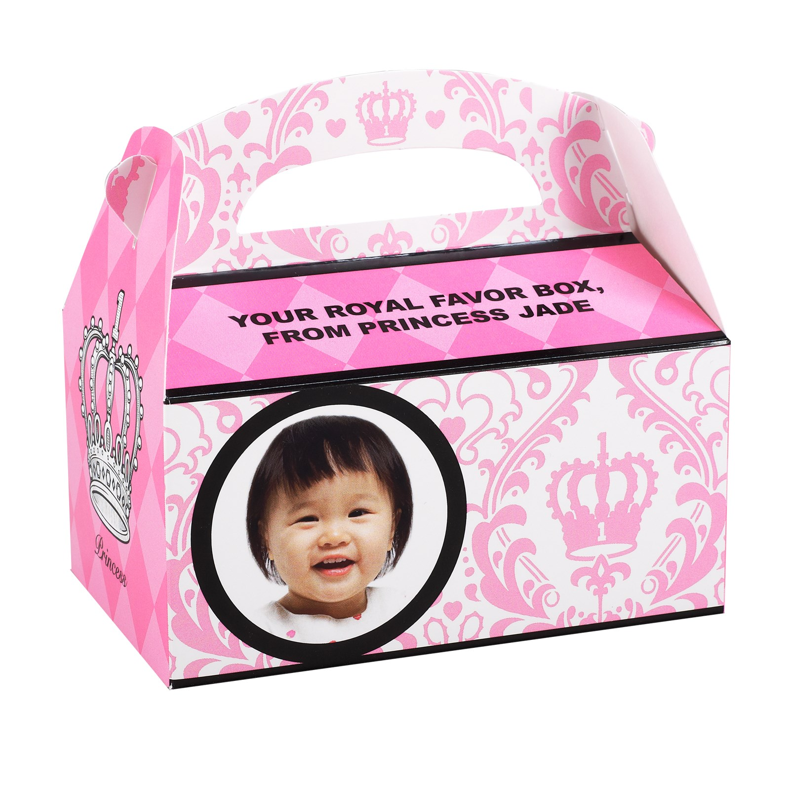 Personalized 1st Birthday Favor Boxes : Elegant princess damask st birthday personalized empty