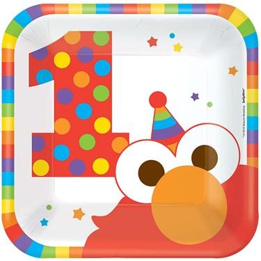 "Elmo Turns One 7"" Cake Plates (8)"