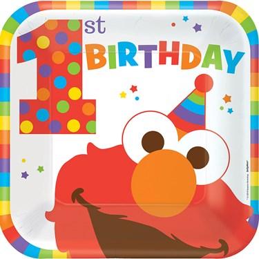 "Elmo Turns One 9"" Luncheon Plates (8)"
