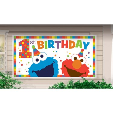 Elmo Turns One Horizontal Giant Sign Banner