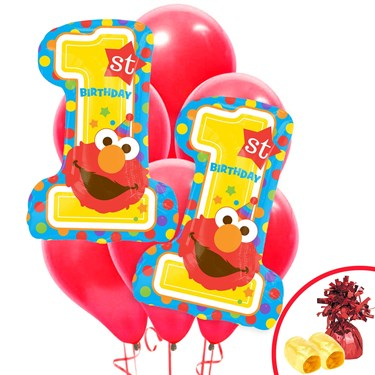 Elmo Turns One Jumbo Balloon Bouquet Kit