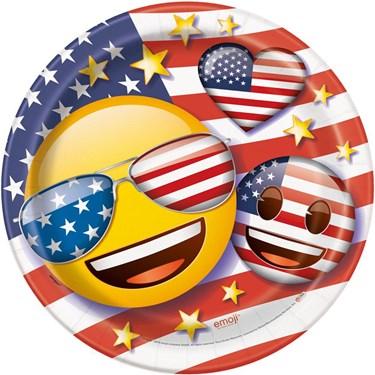 """Emoji Patriotic 9"""" Luncheon Plates (8)"""