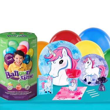 Enchanted Unicorn 16 Guest Kit with Tableware and Helium Kit