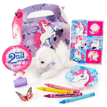 Enchanted Unicorn 2nd Birthday Filled Favor Boxes (4-Pack)