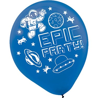 """Epic Party  12"""" Printed Latex Balloons (6)"""