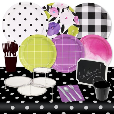 Fancy Floral 32 Guest Pack & Serveware