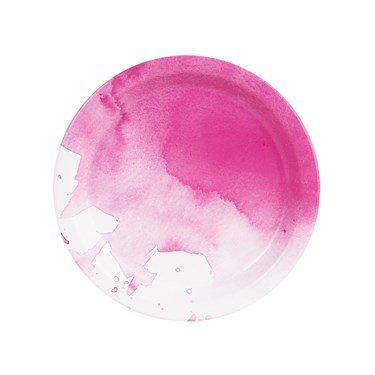Fancy Floral Pink Watercolor Dessert Plate (8)