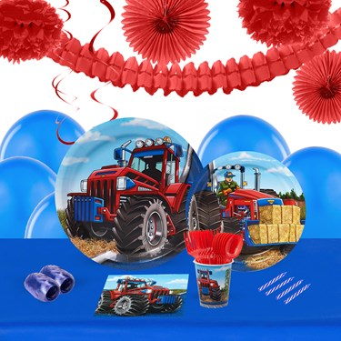 Farm Tractor 16 Guest Tableware & Deco Kit