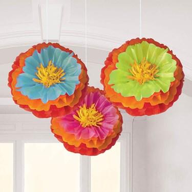 "Fiesta Fluffy Flower 16"" Decorations (3)"