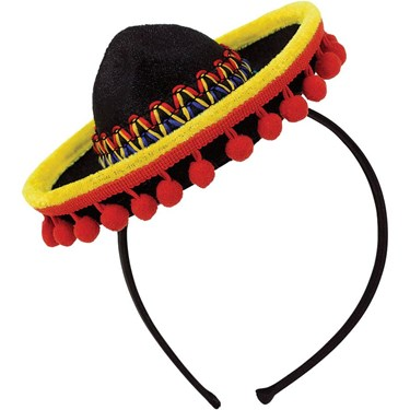 Fiesta Sombrero Headband Fabric w/ Ball Fringe (Each)
