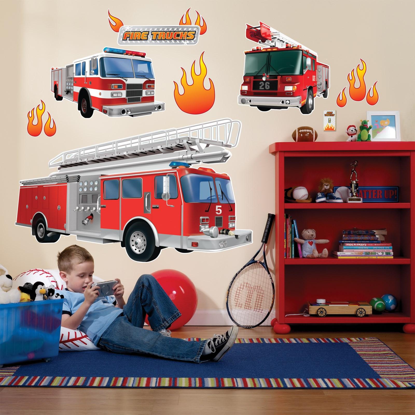 fire trucks giant wall decals birthdayexpress com fire truck wall sticker wall art com