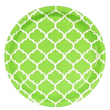 Fresh Lime Quatrefoil Dinner Plates (8)