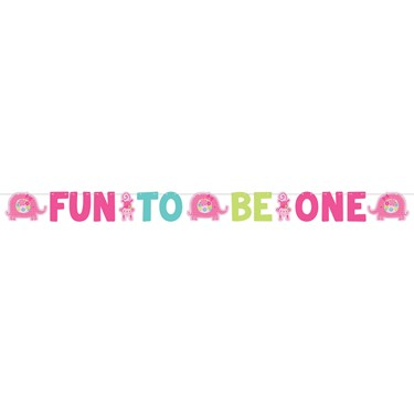 Fun at One Girl Jumbo Letter Banner Kit