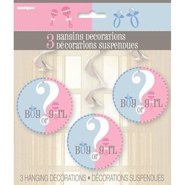 Gender Reveal Hanging Swirl Decorations