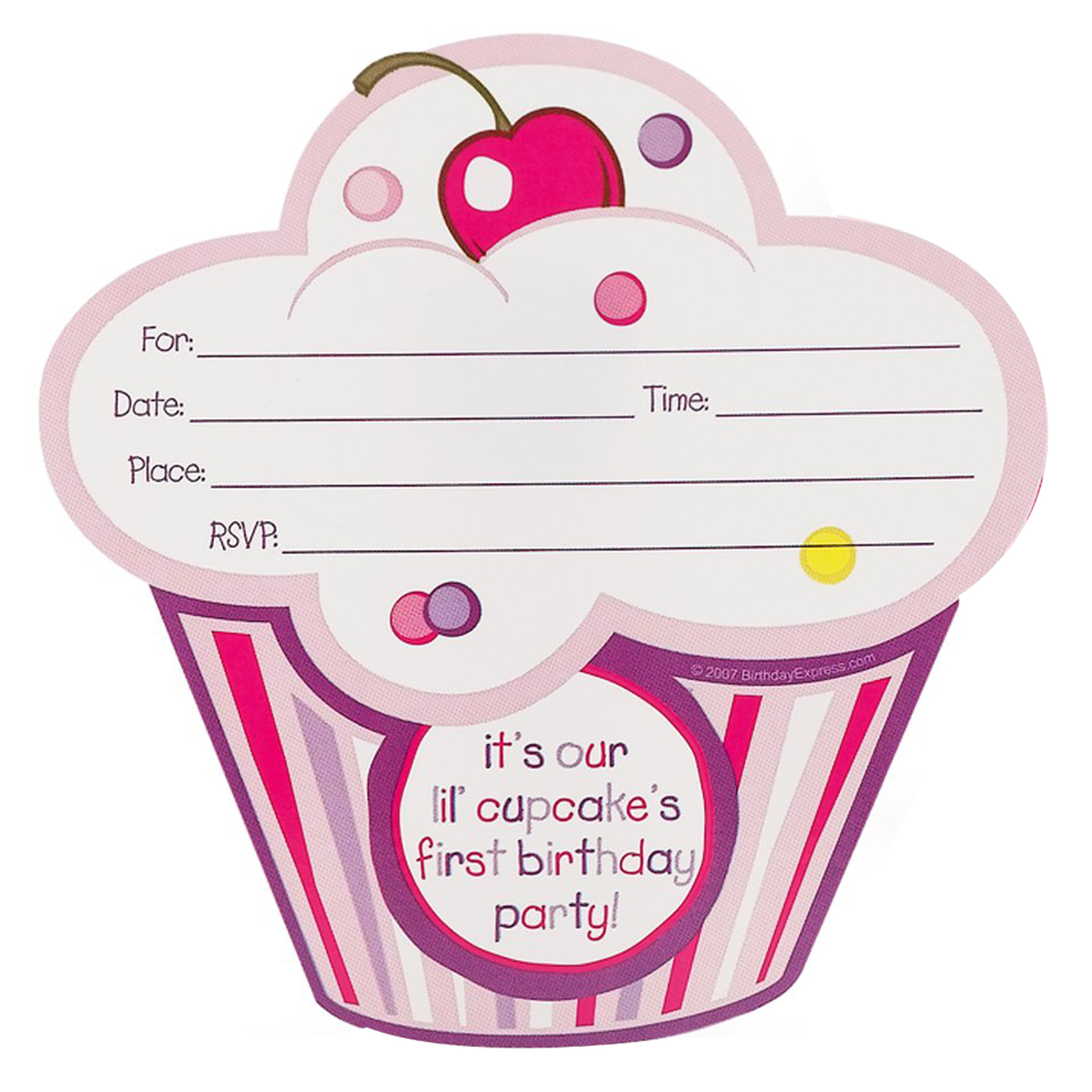 Girls Lil Cupcake 1st Birthday Invitations BirthdayExpresscom