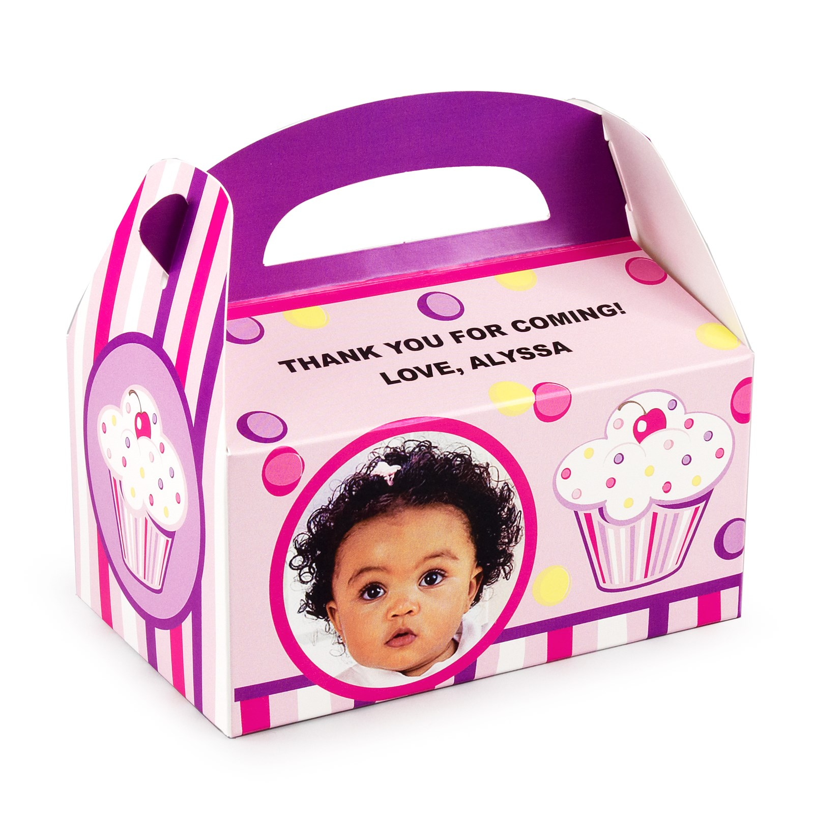 Personalized 1st Birthday Favor Boxes : Girl s lil cupcake st birthday personalized empty favor