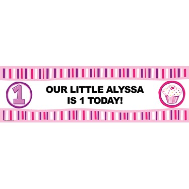 Girl's Lil' Cupcake Personalized Vinyl Banner
