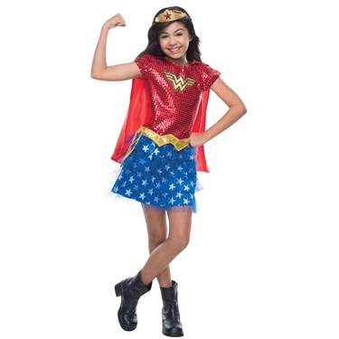Girls Sequin Wonder Woman Costume