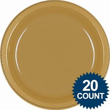 Gold 10 Plastic Dinner Plates (20)