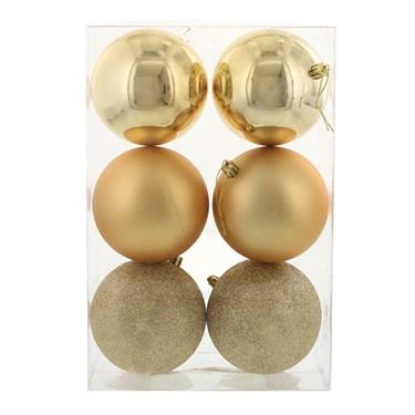 Gold 100mm Ball Ornament Set (6)