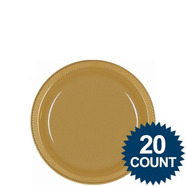 Gold 7 Plastic Cake Plates (20 Pack)