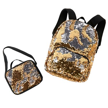 Gold & Silver Backpack & Lunch Tote