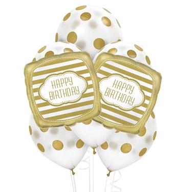Gold & White 8 pc Balloon Kit