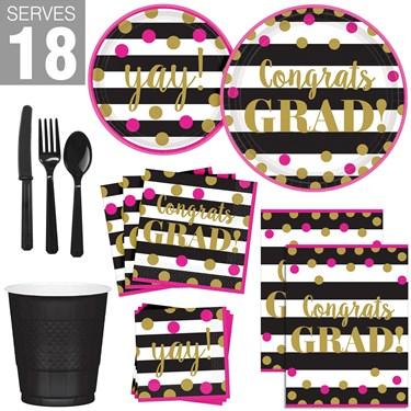 Gold Confetti Grad Party Pack for 18