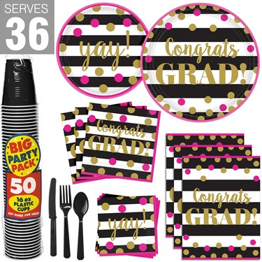 Gold Confetti Grad Party Pack for 36