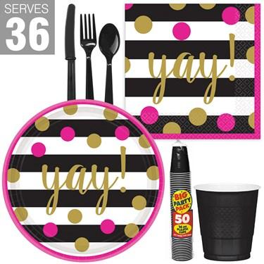 Gold Confetti Grad Snack Pack for 36