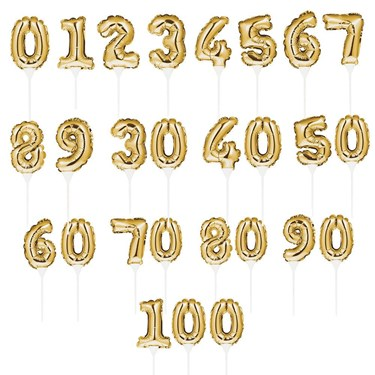Gold Number 4 Self-Inflating Balloon Cake Topper