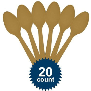 Gold Plastic Spoons (20 Pack)