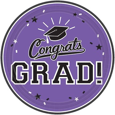 Graduation 10 Dinner Plate Purple (18 Count)