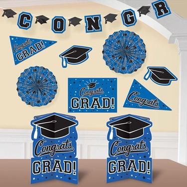 Graduation 10 Piece Room Decorating Kit Blue