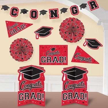 Graduation 10 Piece Room Decorating Kit Red