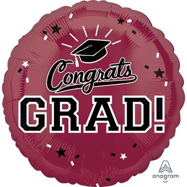 "Graduation 18"" Foil Balloon Maroon Burgundy (1)"