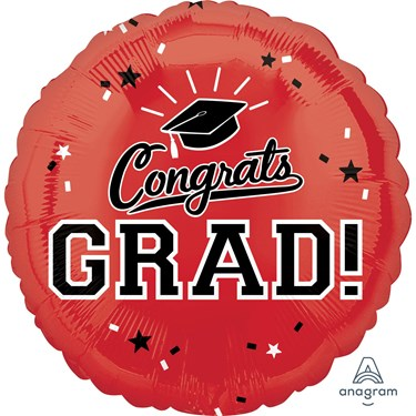 "Graduation 18"" Foil Balloon Red (1)"