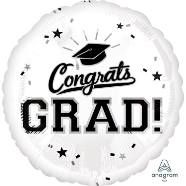 """Graduation 18"""" Foil Balloon White (1)"""