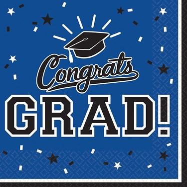 Graduation Beverage Napkins Blue (36 Count)