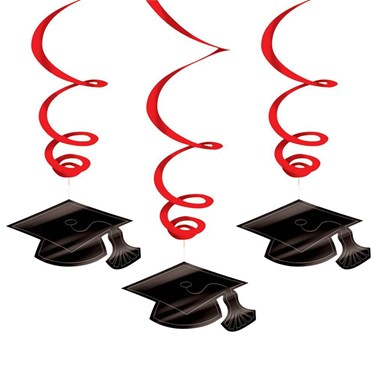 Graduation Foil Swirl Red Decorations (1)