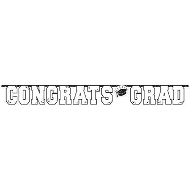 Graduation Giant 10 Foot Letter Banner White