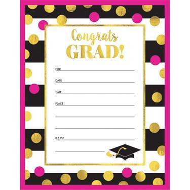 Graduation Gold Confetti Invitations (20 Count)